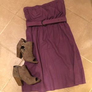 Purple, strapless, linen dress